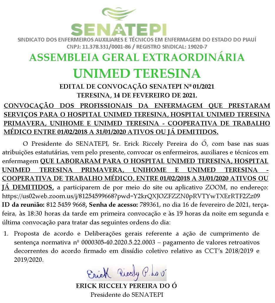 Assembleia geral extraordinária com os profissionais de enfermagem, ativos e inativos da UNIMED Teresina. Participe e vote nas propostas de seu interesse.