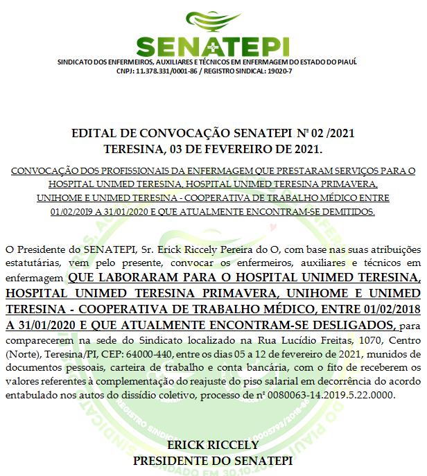 EDITAL DE CONVOCAÇÃO SENATEPI Nº 02/2021 TERESINA, 03 DE FEVEREIRO DE 2021.