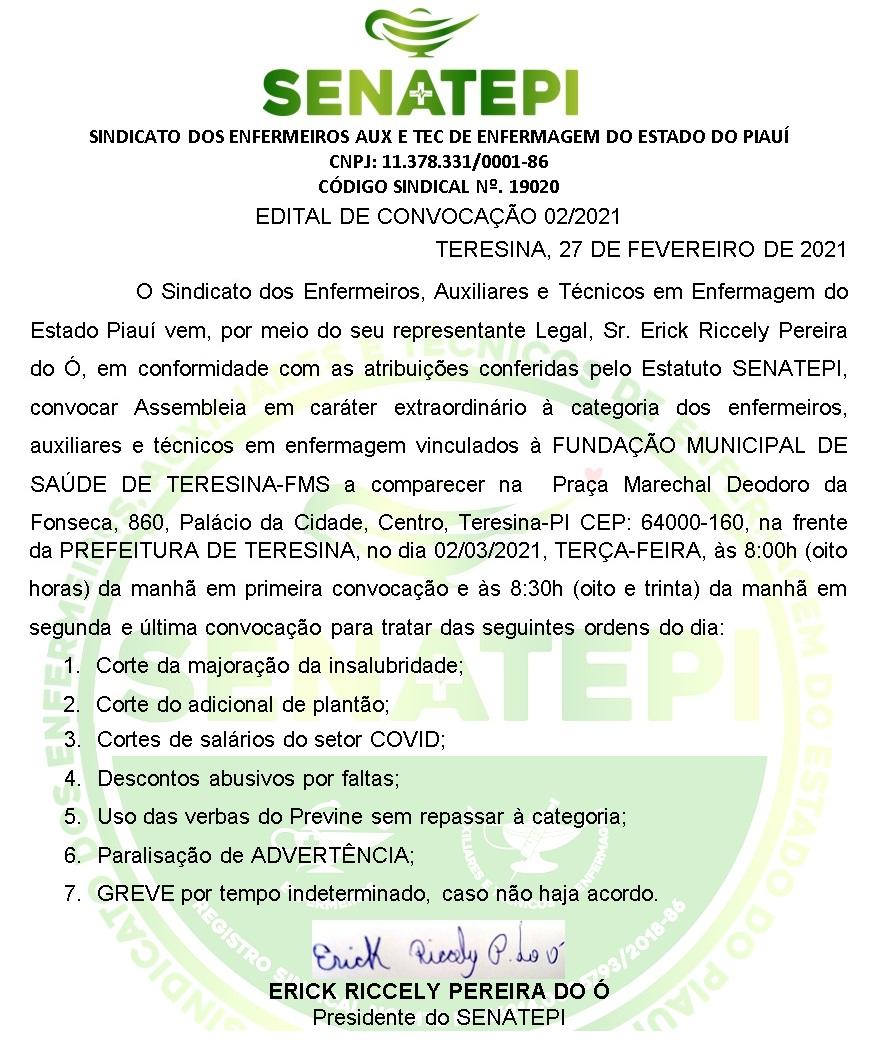 CONVOCAÇÃO PARA ASSEMBLEIA GERAL EXTRAORDINÁRIA DOS PROFISSIONAIS DE ENFERMAGEM DA FMS-TERESINA