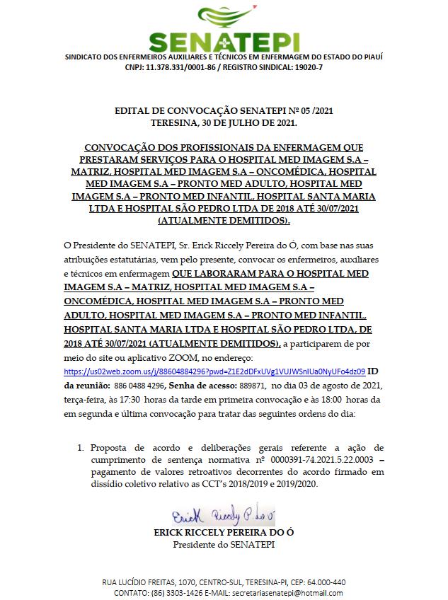 EDITAL DE CONVOCAÇÃO SENATEPI Nº 05 /2021 TERESINA, 30 DE JULHO DE 2021.