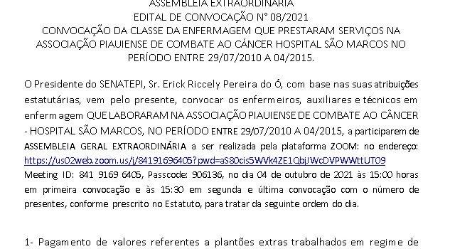 EDITAL DE CONVOCAÇÃO SENATEPI Nº 08 /2021 TERESINA, 30 DE SETEMBRO DE 2021.