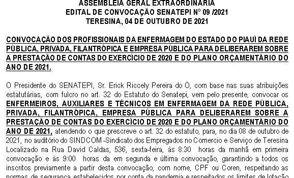 EDITAL DE CONVOCAÇÃO SENATEPI Nº 11/2021  TERESINA, 12 DE OUTUBRO DE 2021.